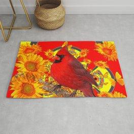 RED CARDINAL YELLOW SUNFLOWERS RED ART Rug