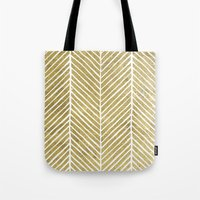 gold foil Tote Bags featuring Gold Foil Chevron by Berty Bob