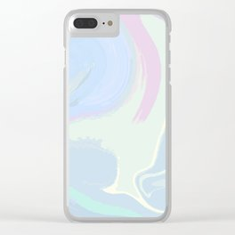 Blue Mint Marble. Digital Suminagashi Liquid Color Abstraction Clear iPhone Case