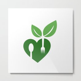 Love for vegan food with organic leaves and spoon forks Metal Print