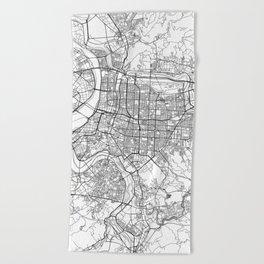 Taipei White Map Beach Towel