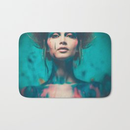 Young woman muse with creative body art and hairdo (4) Bath Mat