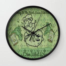 Green Pattern Popeye Wall Clock