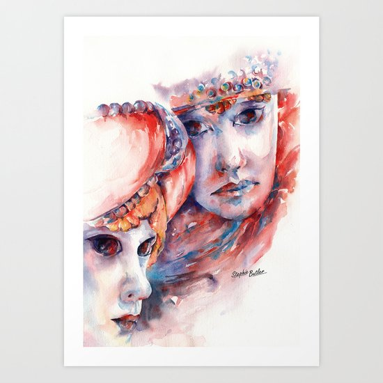 Fire and Ice ... Mask Art Print