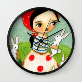 Bunches of Bunnies cute painting by Tascha Wall Clock