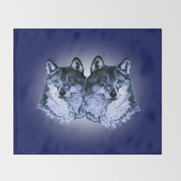 Season of the Wolf - Duet in Sapphire Throw Blanket