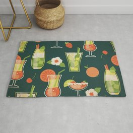Cheeky Cocktails Pattern - Kitschy Bar Drinks in Vibrant Citrus Palette on Blue Rug