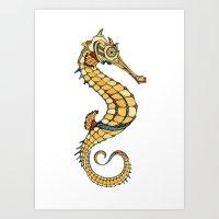 seahorse Art Prints featuring Seahorse by Andreas Preis
