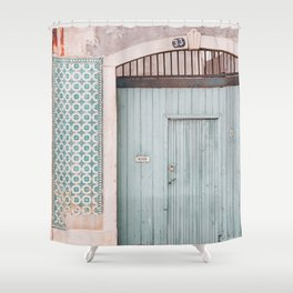 The mint door Shower Curtain