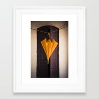 umbrella Framed Art Prints featuring Umbrella by Maria Heyens