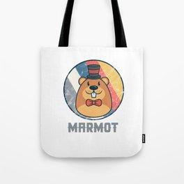Vintage Cute Wildlife Marmot Colorful Retro Animals Tote Bag