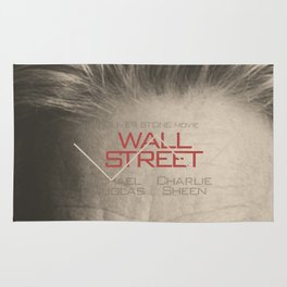 Wall Street, alternative movie poster, Gordon Gekko, Oliver Stone, film, minimal fine art playbill Rug
