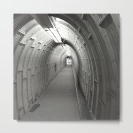 Cave Access Tunnel Black and White Metal Print
