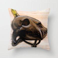 Bear Skull Throw Pillow
