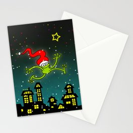Christmas Frog Jumping out of Joy Stationery Cards