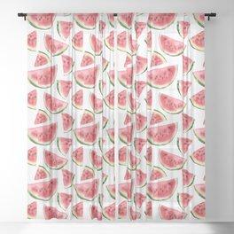 Watercolor watermelon Sheer Curtain