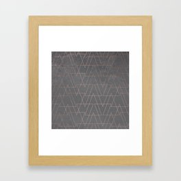 Modern rose gold geometric triangles blush pink abstract pattern on grey cement industrial Framed Art Print