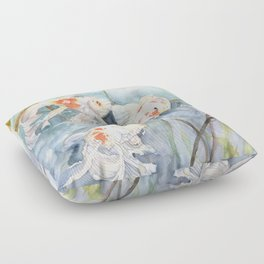 Koi Fish Painting, Underwater Water Lily Floor Pillow