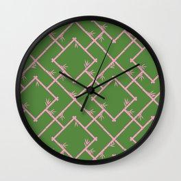 Bamboo Chinoiserie Lattice in Green + Pink Wall Clock