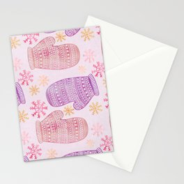 Wintertime pattern knitted mittens Stationery Cards