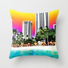 Waikiki Beach II Throw Pillow