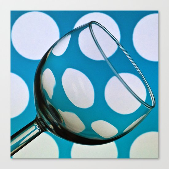 Wine Glass with Polka Dots Canvas Print