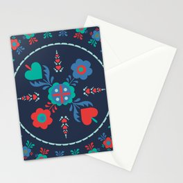 Folk Flowers with Red Border Stationery Cards