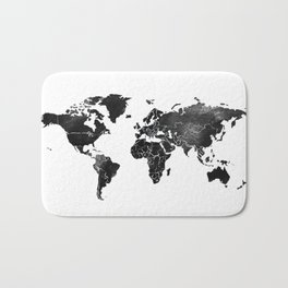 Black and silver world map Bath Mat