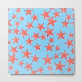 Summer Fun Pattern: Starfish Floating in Blue Ocean Metal Print