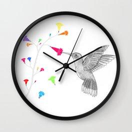 Colorful hummingird Wall Clock
