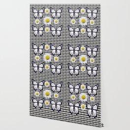BLACK-WHITE DAISIES & MONARCH BUTTERFLIES ART Wallpaper