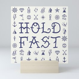 Uncle Knuckles - Hold Fast - Navy on Off White Mini Art Print