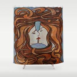 Lesbian Kiss (Art Nouveau Style) Shower Curtain