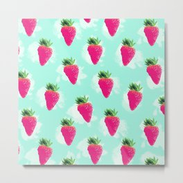 Watercolor Strawberry Metal Print