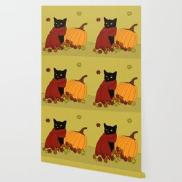 Cascade The Black Cat In Red Scarf With Pumpkin - Fall Wallpaper