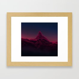 Pink mountains at night Framed Art Print