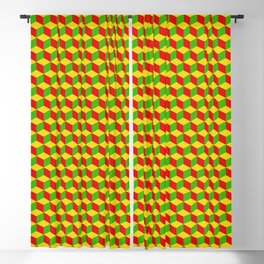 colorful isometric rasta cube pattern Blackout Curtain
