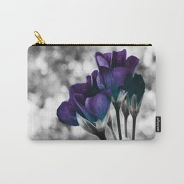 Flowers Violet Dark Teal Pop of Color Carry-All Pouch