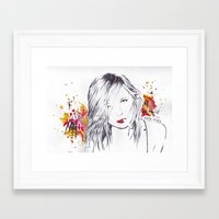 kate moss Framed Art Prints featuring Kate Moss by Megan Sheridan