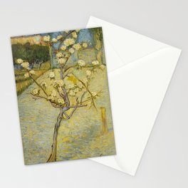 Small pear tree in blossom by Vincent Van Gogh Stationery Cards