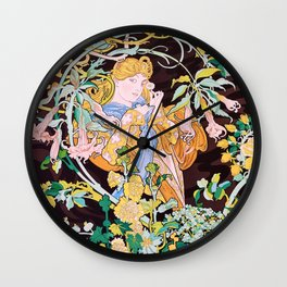 Woman With Flowers - Digital Remastered Edition Wall Clock
