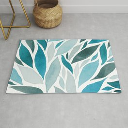 Abstract Watercolour Leaves Rug
