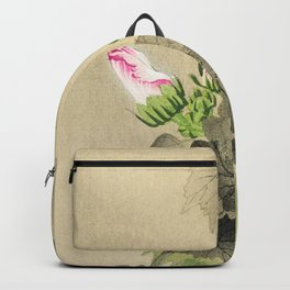Bird sitting on a bush - Vintage Japanese Woodblock Print Art Backpack