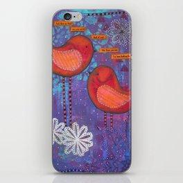 Whimsical Soul Birds Mixed Media iPhone Skin