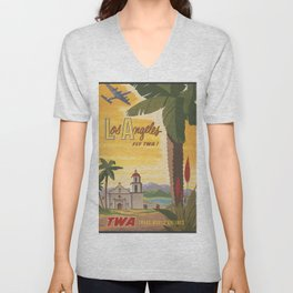 Los Angeles Vintage Poster - Fly TWA Unisex V-Neck