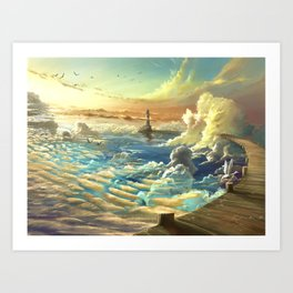 on shore of the sky Art Print