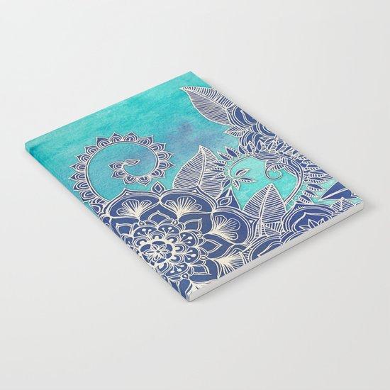Mermaid's Garden - Navy & Teal Floral on Watercolor Notebook