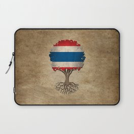 Vintage Tree of Life with Flag of Thailand Laptop Sleeve