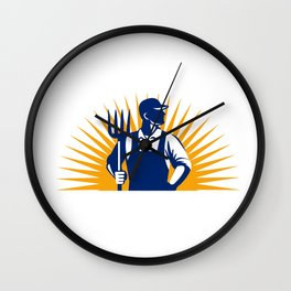 Organic Farmer Pitchfork Sunburst Retro Wall Clock