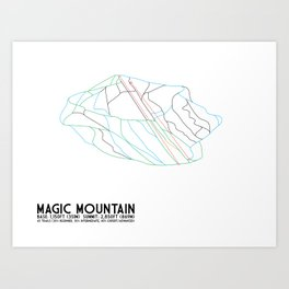 Magic Mountain, VT - Minimalist Winter Trail Art Art Print